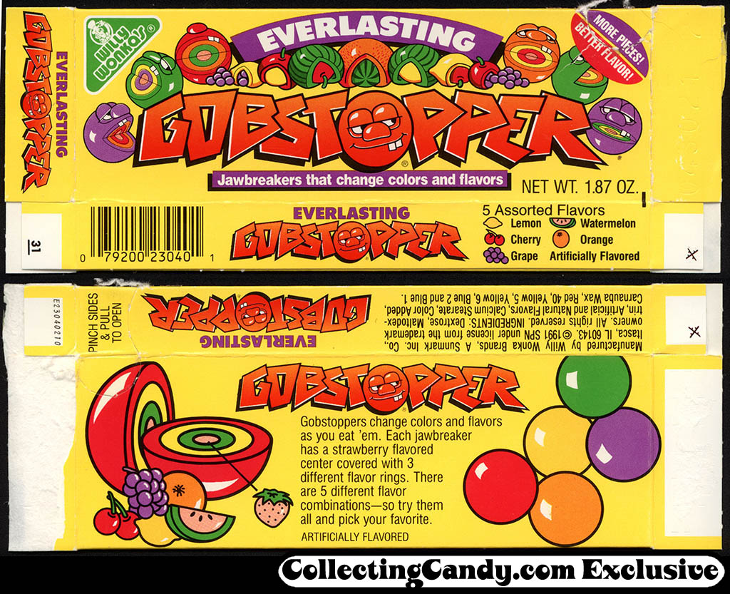 Sunmark - Willy Wonka's - Everlasting Gobstopper - candy box - 1991