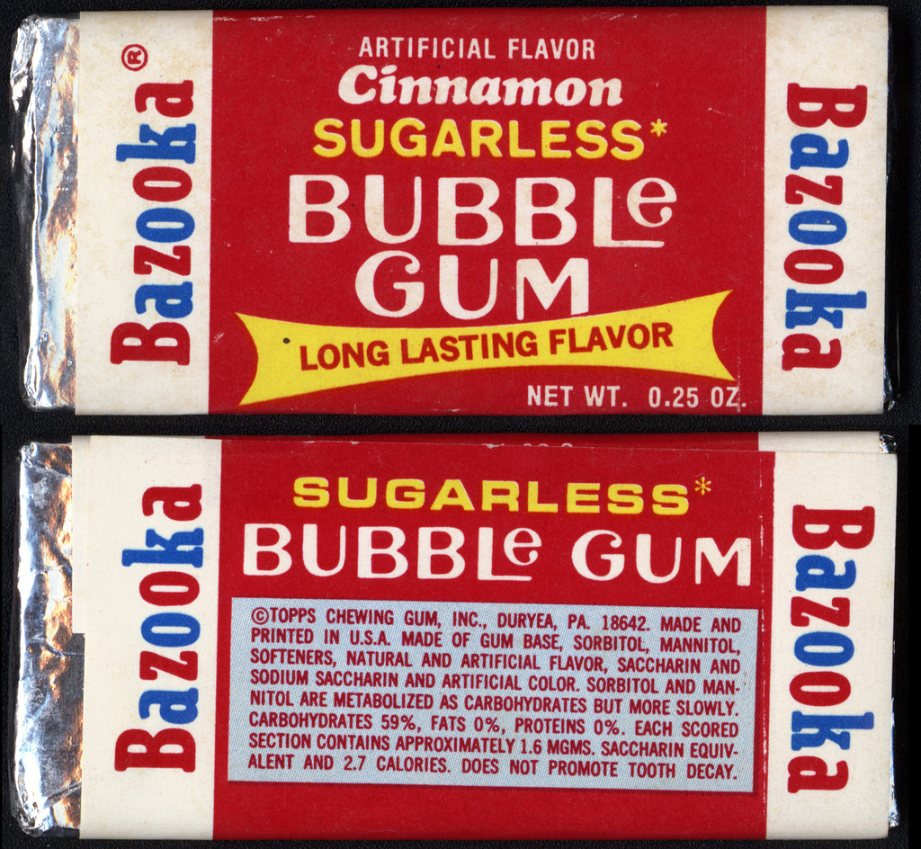 Topps Bazooka Cinnamon Sugarless Bubble Gum package - 1972