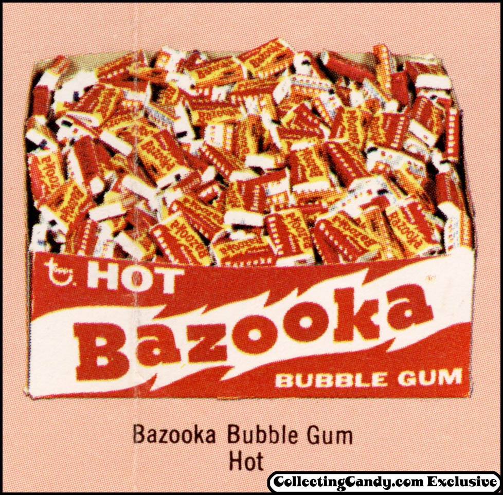 Topps - Bazooka Hot bubble gum - display box image from promotional brochure - 1973
