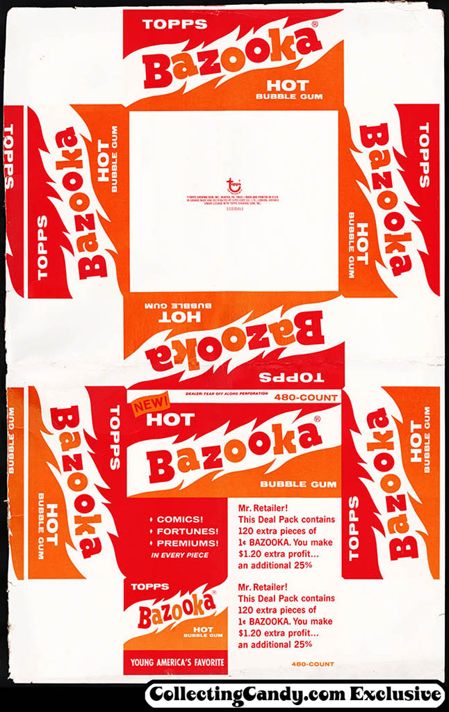 Topps - NEW Bazooka Hot bubble gum 480-count display box flat - 1970's