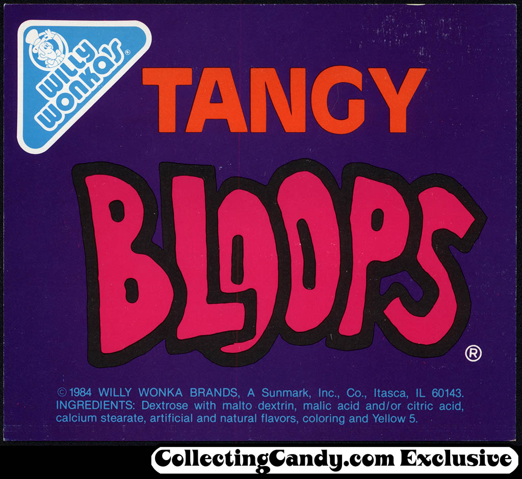 Willy Wonka's - Tangy Bloops - candy vending insert card - 1980's