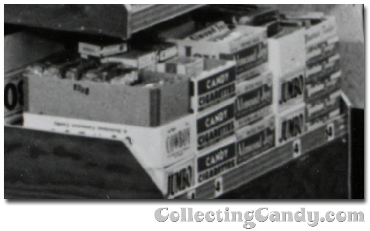 1953 Halloween Grocery picture - Cowboy - Jumbo - Candy Cigarettes - Almond Joy - Tootsie Fudge - close-up