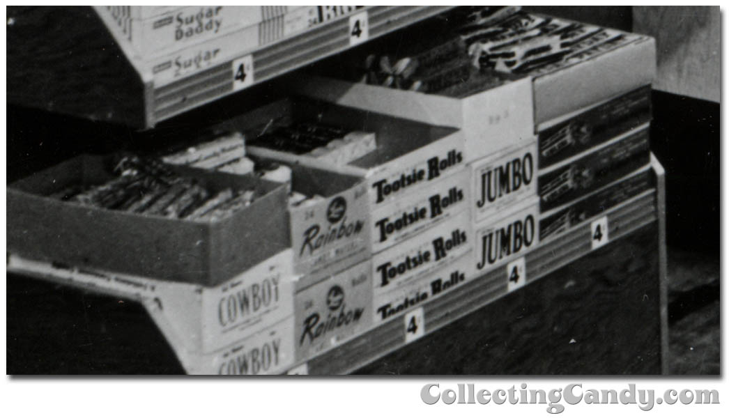 1953 Halloween Grocery picture - Lewis Rainbow Wafers - Tootsie Rolls - Jumbo - Pay Day - Cowboy - close-up