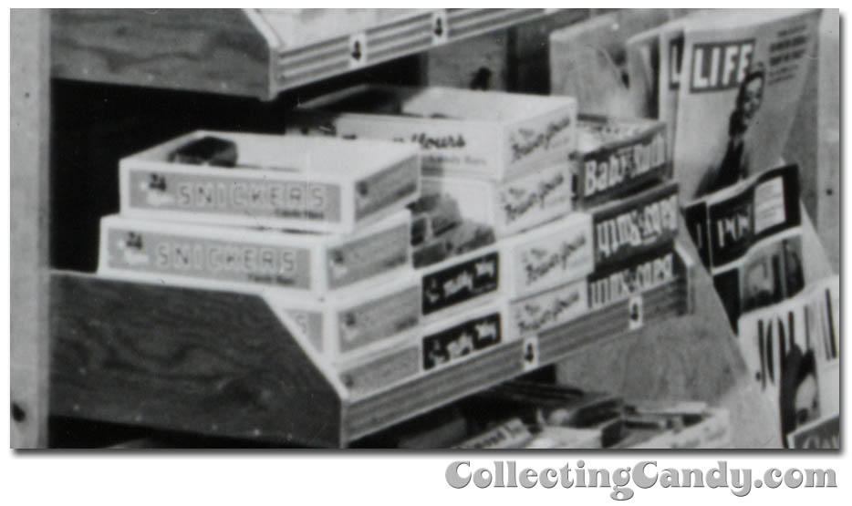 1953 Halloween Grocery picture - Snickers - Milky Way - Forever Yours - Baby Ruth - close-up