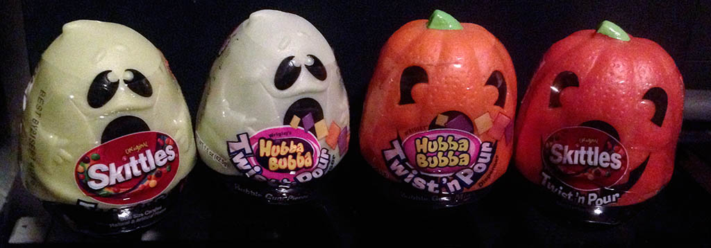 2006 Hubba Bubba Halloween Twist 'n Pour Vs 2013 Skittles Halloween Twist 'n Pour