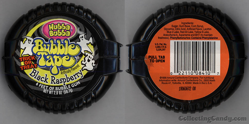 Amurol-Wrigley - Hubba Bubba Bubble Tape - Trick or Treat Black Raspberry - Halloween gum candy dispenser - 1998