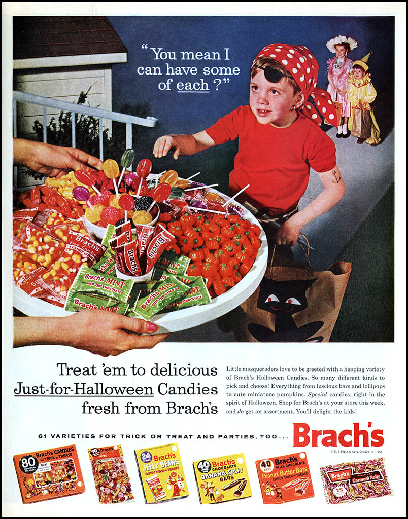 Brachs - Can I have Some of Each - Halloween candy magazine ad - 1962