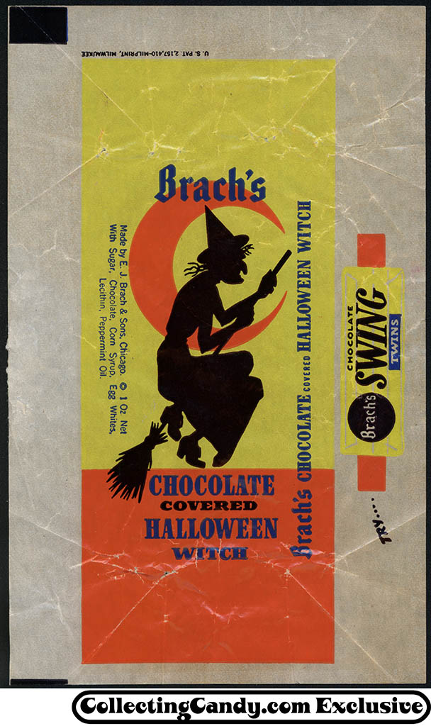 Brach's - Chocolate Covered Halloween Witch - candy wrapper - 1960's