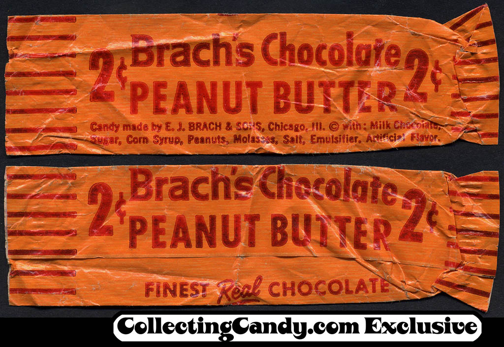 Brach's Chocolate Peanut Butter bar - 2-cent candy wrapper - 1950's 1960's