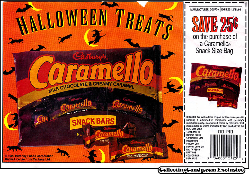 Cadbury's Caramello - Halloween candy newspaper circular coupon - 1993