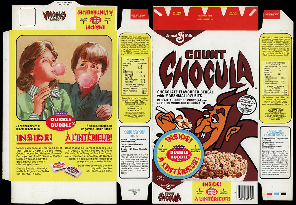 Canada - General Mills - Count Chocula - Free Fleer Dubble Bubble gum - cereal box - 1982