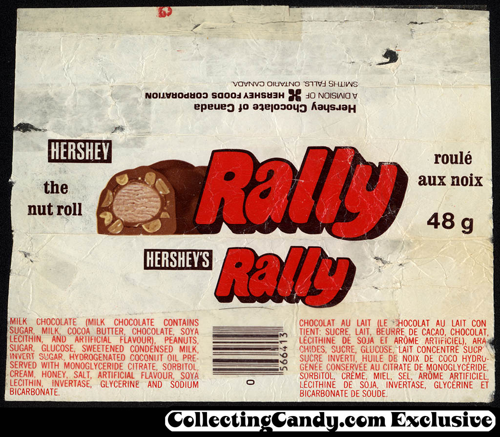 Canada - Hershey - Rally - chocolate candy bar wrapper - 1970's