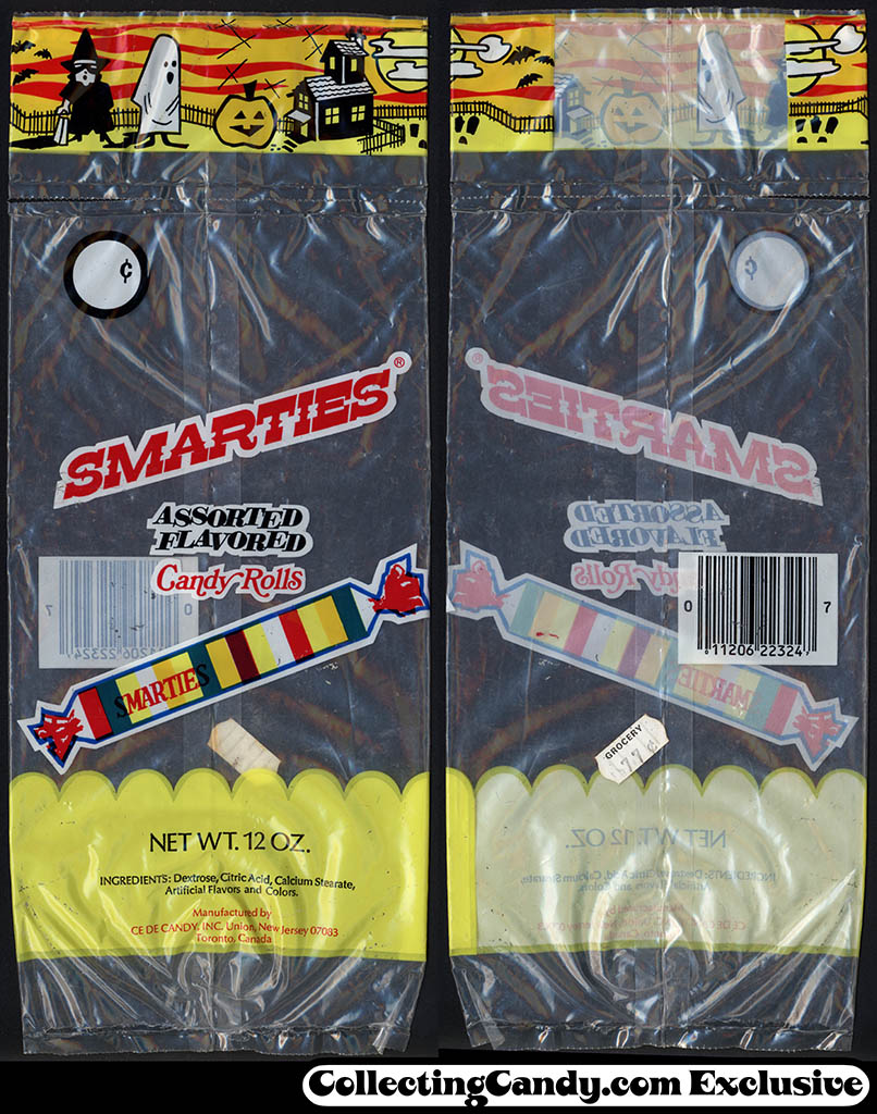 Ce De Candy Company - Smarties assorted flavors candy rolls - 12 oz Halloween candy package - 1980's