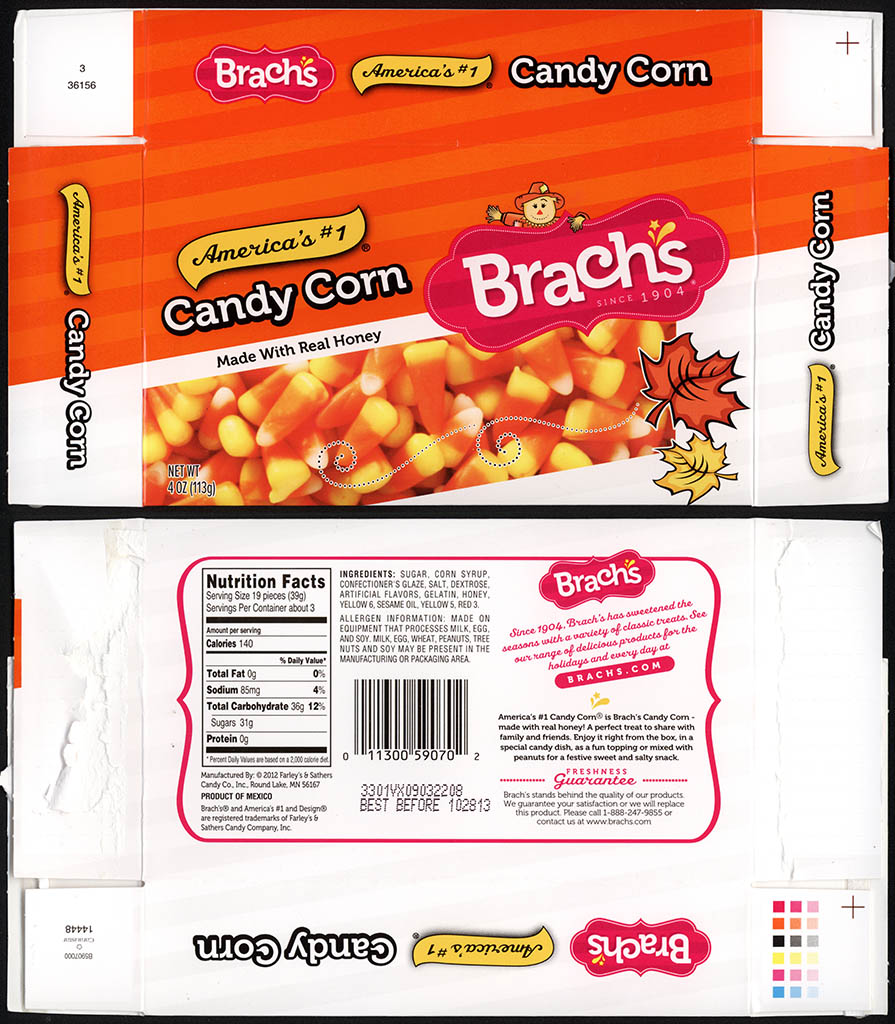 Farley's and Sathers - Brachs - Candy Corn - 4 oz candy box - 2012