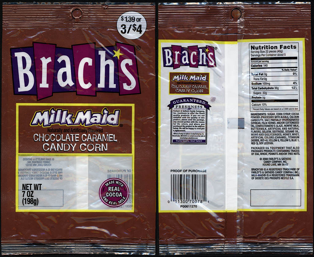 Farley's and Sathers - Brach's Milk-Maid Chocolate Caramel Candy Corn - 7oz candy package - 2008