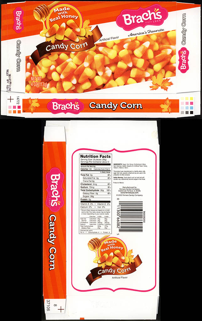 Ferrara Candy Co - Brachs - Candy Corn - 4 oz candy box - 2013