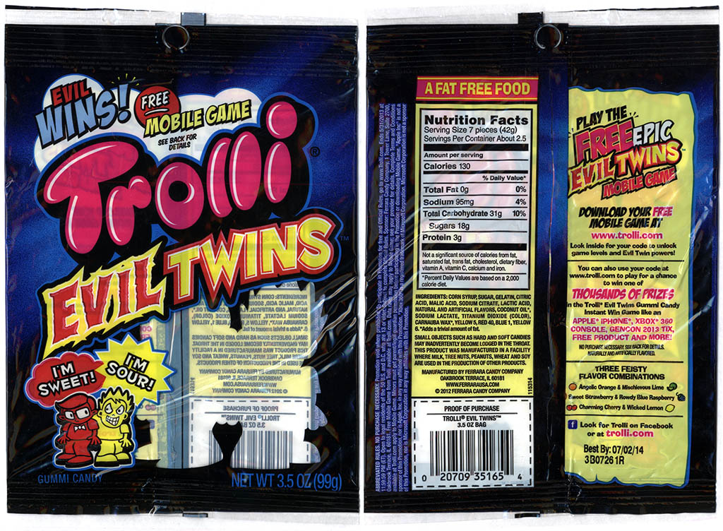 Ferrara Candy Co - Trolli - Evil Twins - Evil Wins Mobile Game - 3_5 oz gummi candy package - 2013
