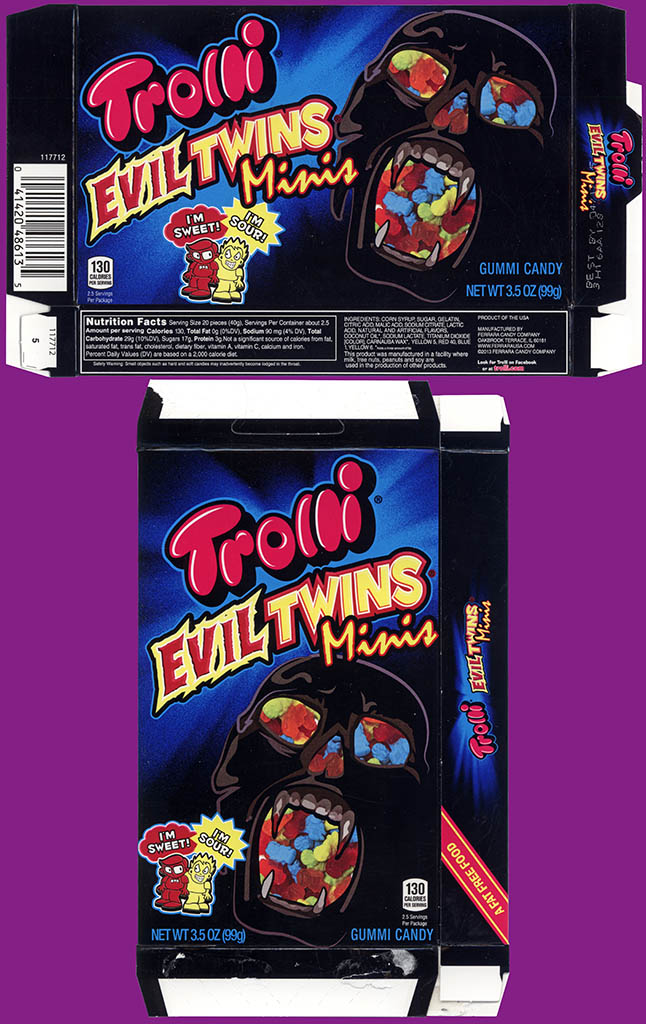 Ferrara Candy Co - Trolli - Evil Twins Minis - Halloween edition - 3.5 oz gummi candy box - 2013