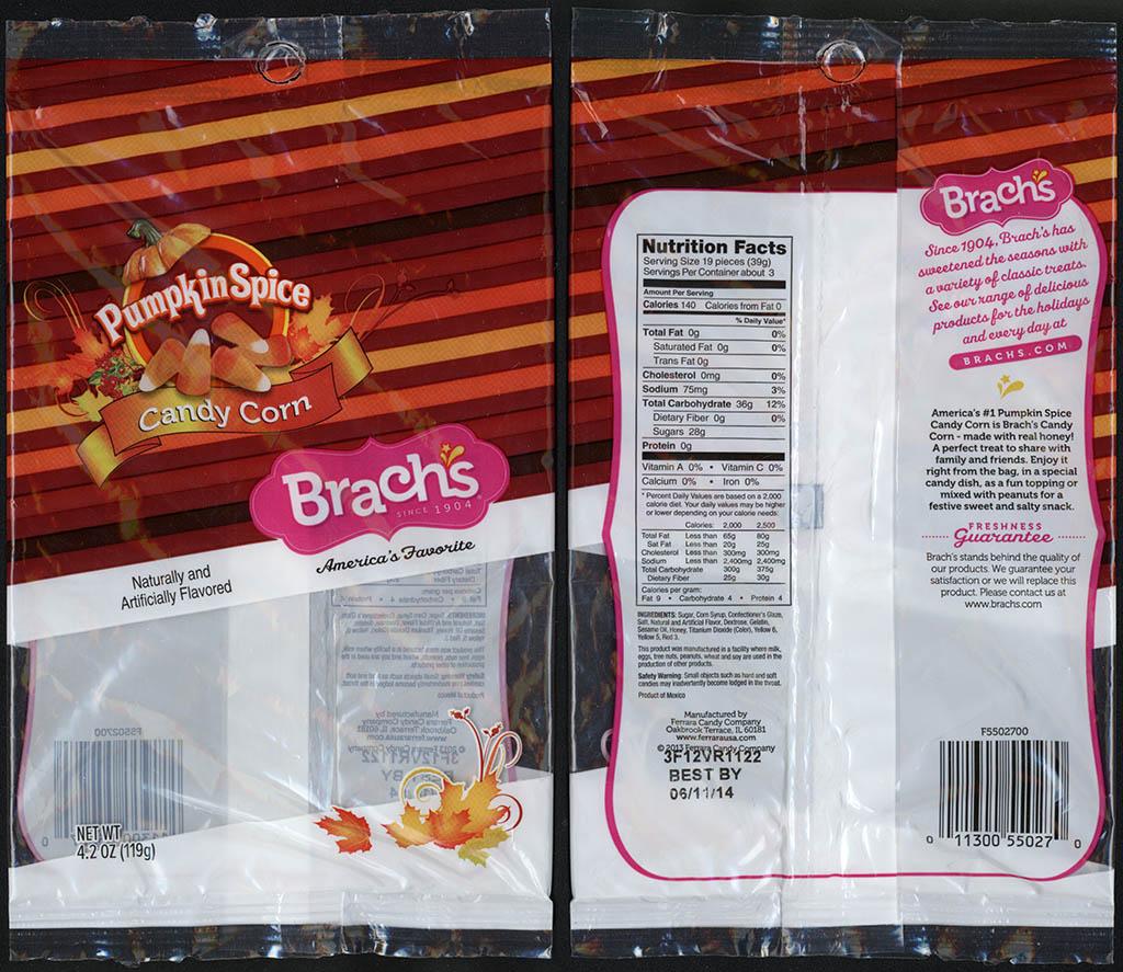 Ferrara Candy Company - Brachs - Candy Corn - Pumpkin Spice - 4.2 oz candy package - 2013