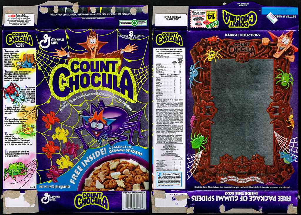 General Mills - Count Chocula - Free Inside Gummi Spiders cereal box - 1993