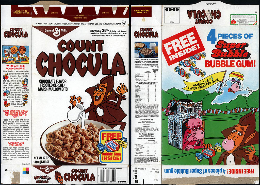 General Mills - Count Chocula - Free Super Bubble bubble gum inside - cereal box - 1983