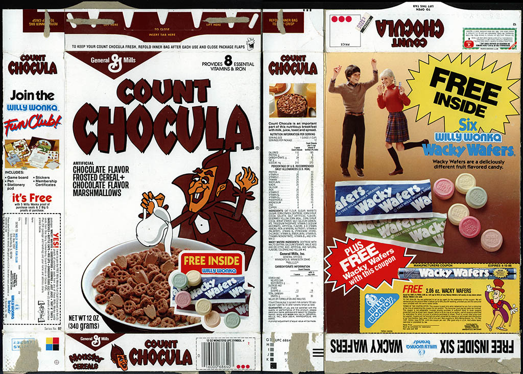 General Mills - Count Chocula - Free Willy Wonka Wacky Wafers - cereal box - 1985