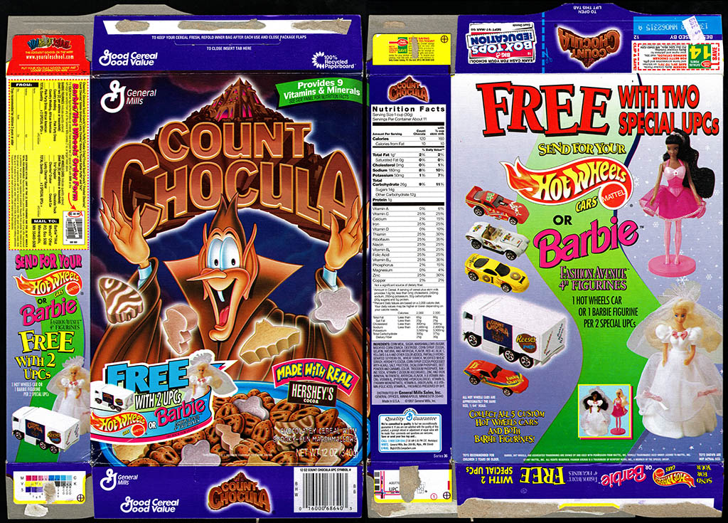 General Mills - Count Chocula - Made with real Hershey's Cocoa - Free Hot Wheels and Barbie - cereal box - 1997