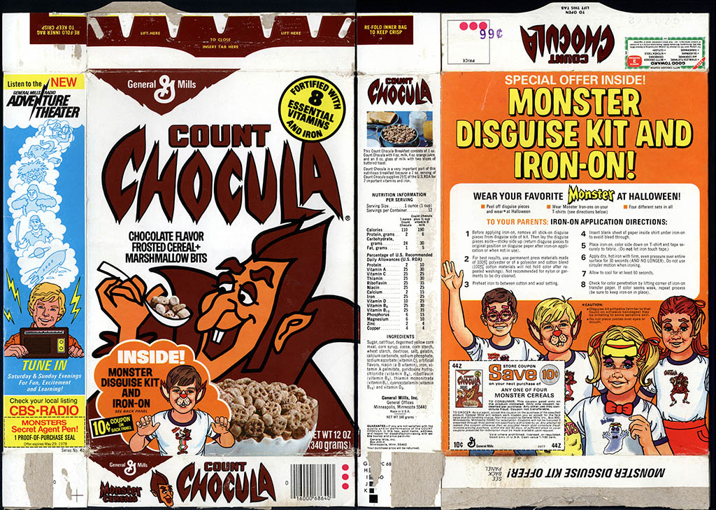 General Mills - Count Chocula - Monster Disguise Kit - cereal box - 1977