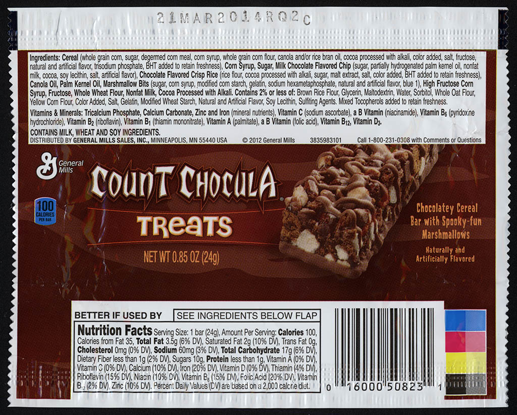 General Mills - Count Chocula Treats - chocolatey cereal bar - snack bar wrapper - 2013