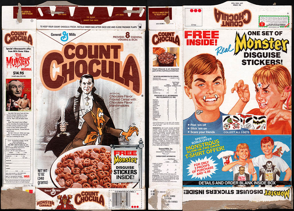General Mills - Count Chocula cereal box - Bela Lugosi - Free Monster Disguise Stickers - 1987