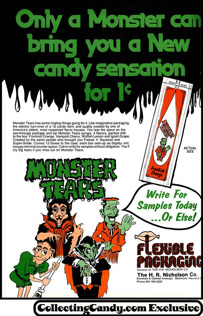 HR Nicholson - Flexible Packaging - Monster Tears - candy magazine trade ad - September 1975
