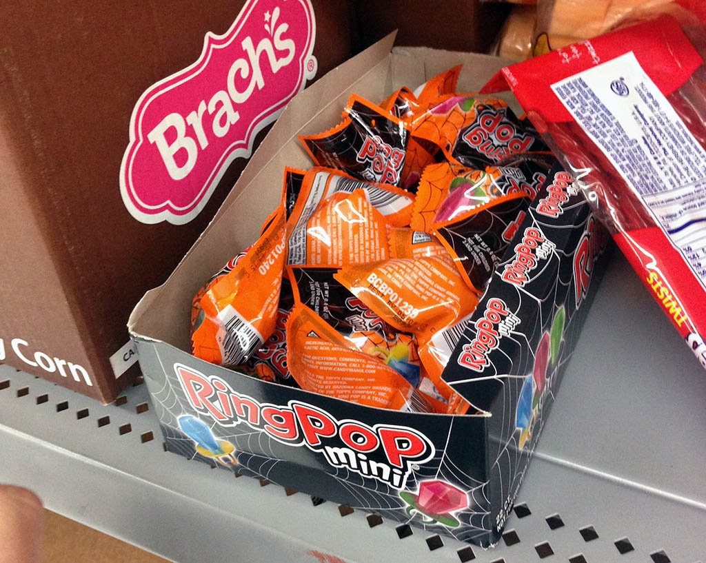 Halloween Ring Pops Minis opened box at Walmart - 2013