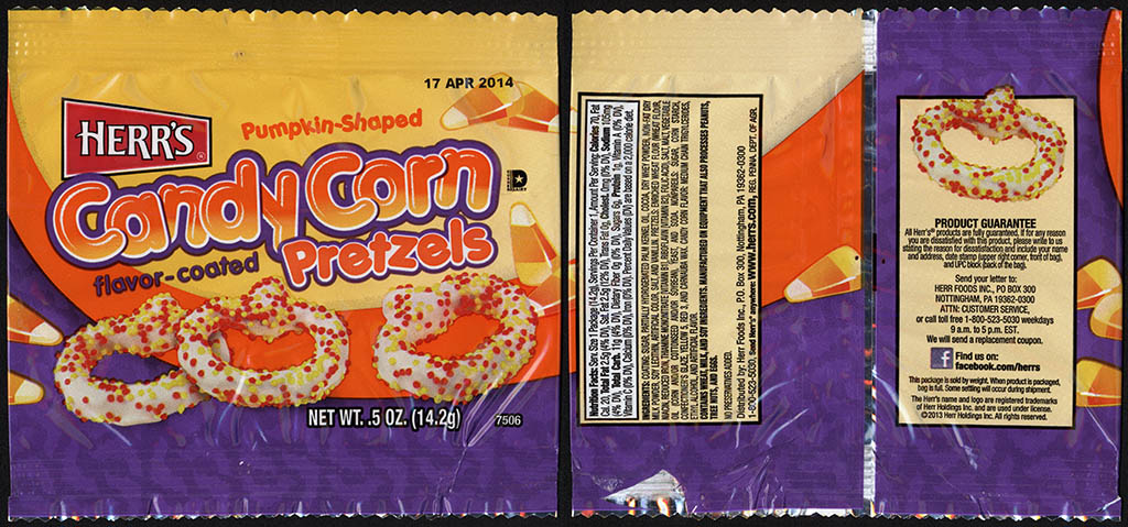 Herr's - Pumpkin Shaped Candy Corn flavor coated Pretzels - .5 oz snack package - 2013