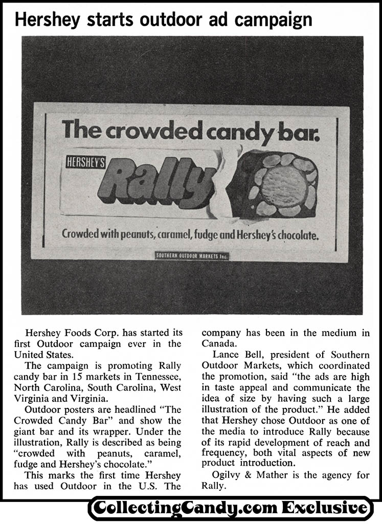 Hershey - Rally bar - candy trade announcement news clipping - June 1970