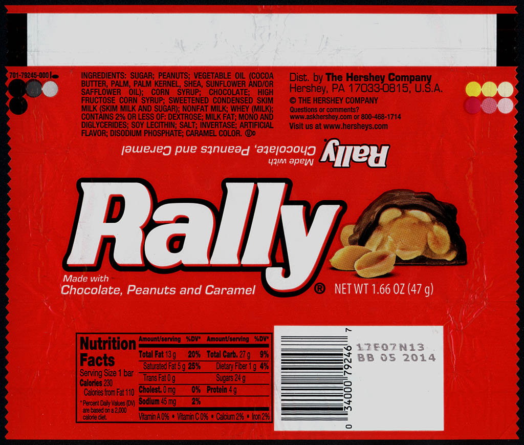 Hershey - Rally - chocolate candy bar wrapper - 2013