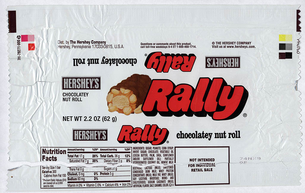 Hershey - Rally - chocolate candy bar wrapper - limited retro release - 2008