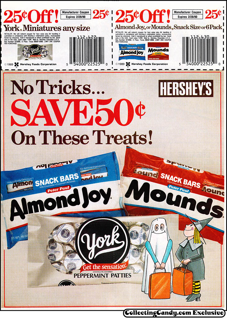Hershey's - Almond Joy Mounds York - Halloween candy newspaper circular coupon - 1989