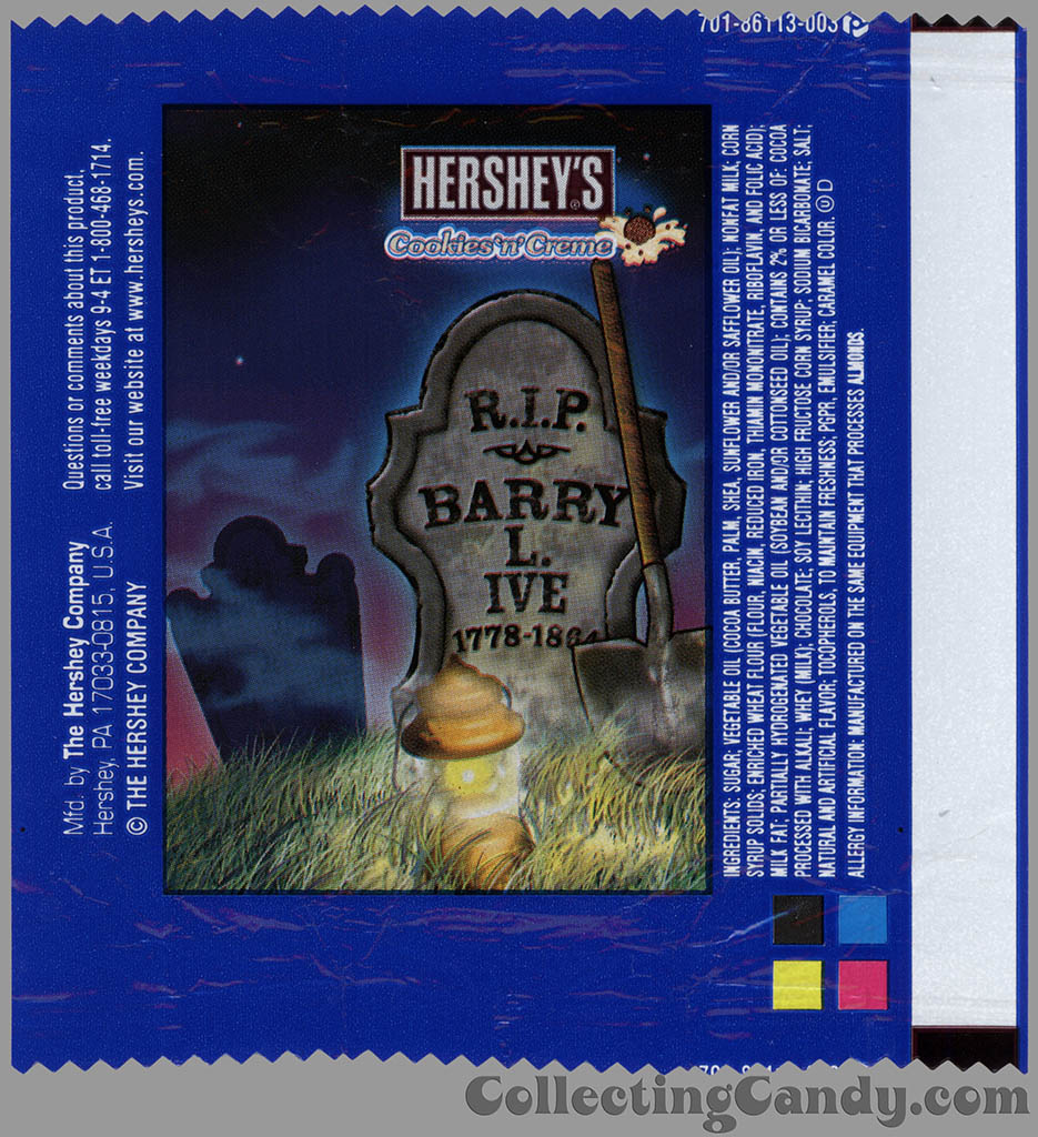 Hershey's - Cookies 'n' Creme - Barry L Ive - Halloween snack size candy wrapper - 2013