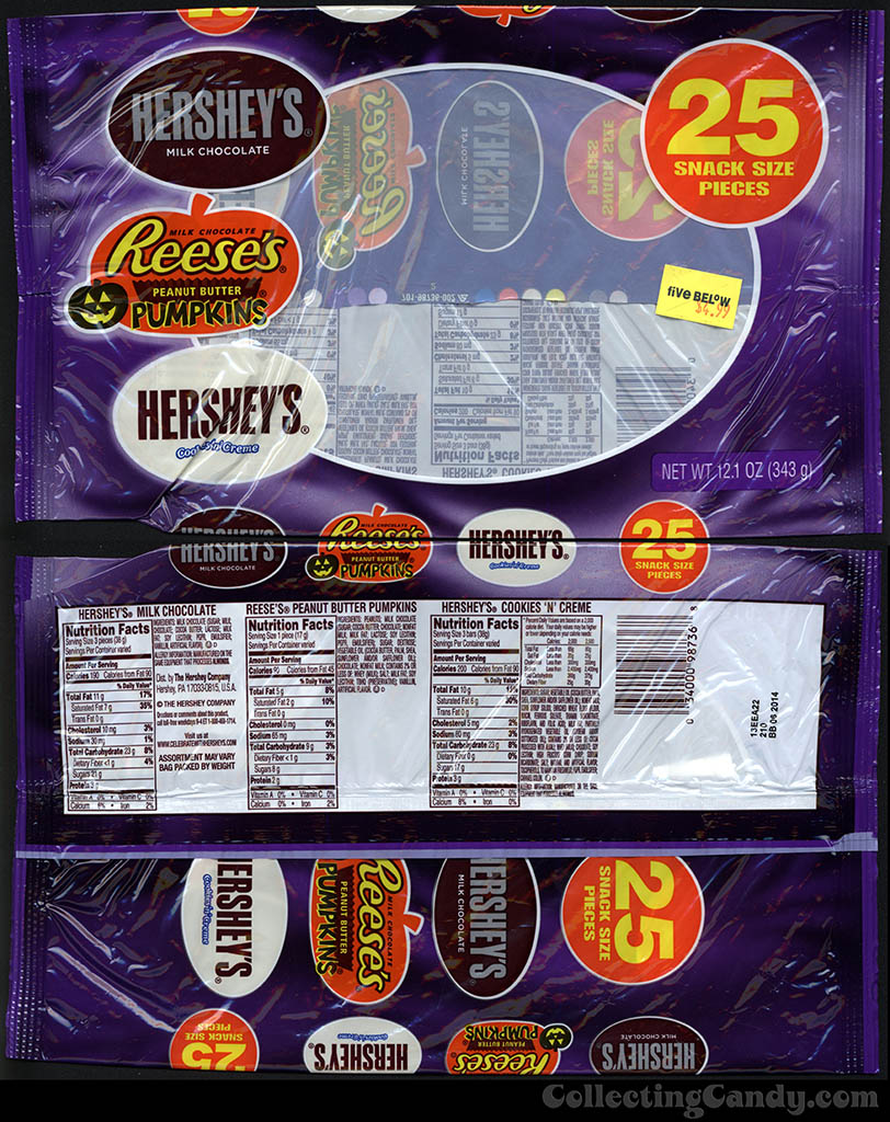 Hershey's - Cookies 'n Creme, Reese's Pumpkins, Hershey's Chocolate - Halloween snack size pack - 12 oz candy package - 2013