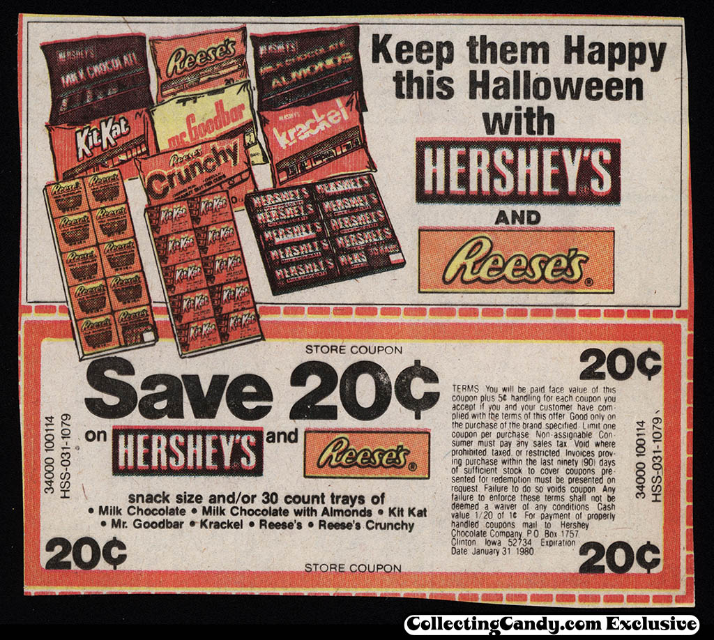Hershey's Halloween newspaper coupon - 1979