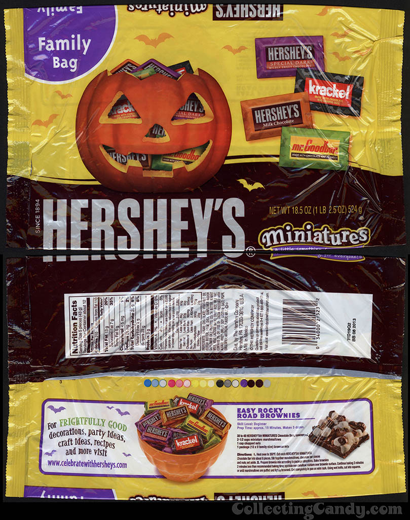 Hershey's - Hershey's Miniatures Family Bag - 18.5 oz Halloween candy package - 2012