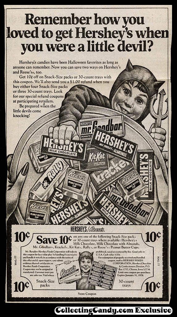 Hershey's Little Devil Halloween newspaper coupon - 1977