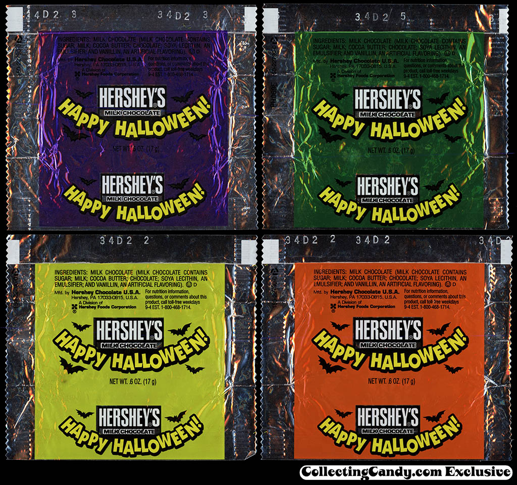 Hershey's Milk Chocolate - Happy Halloween snack size wrappers - early 2000's