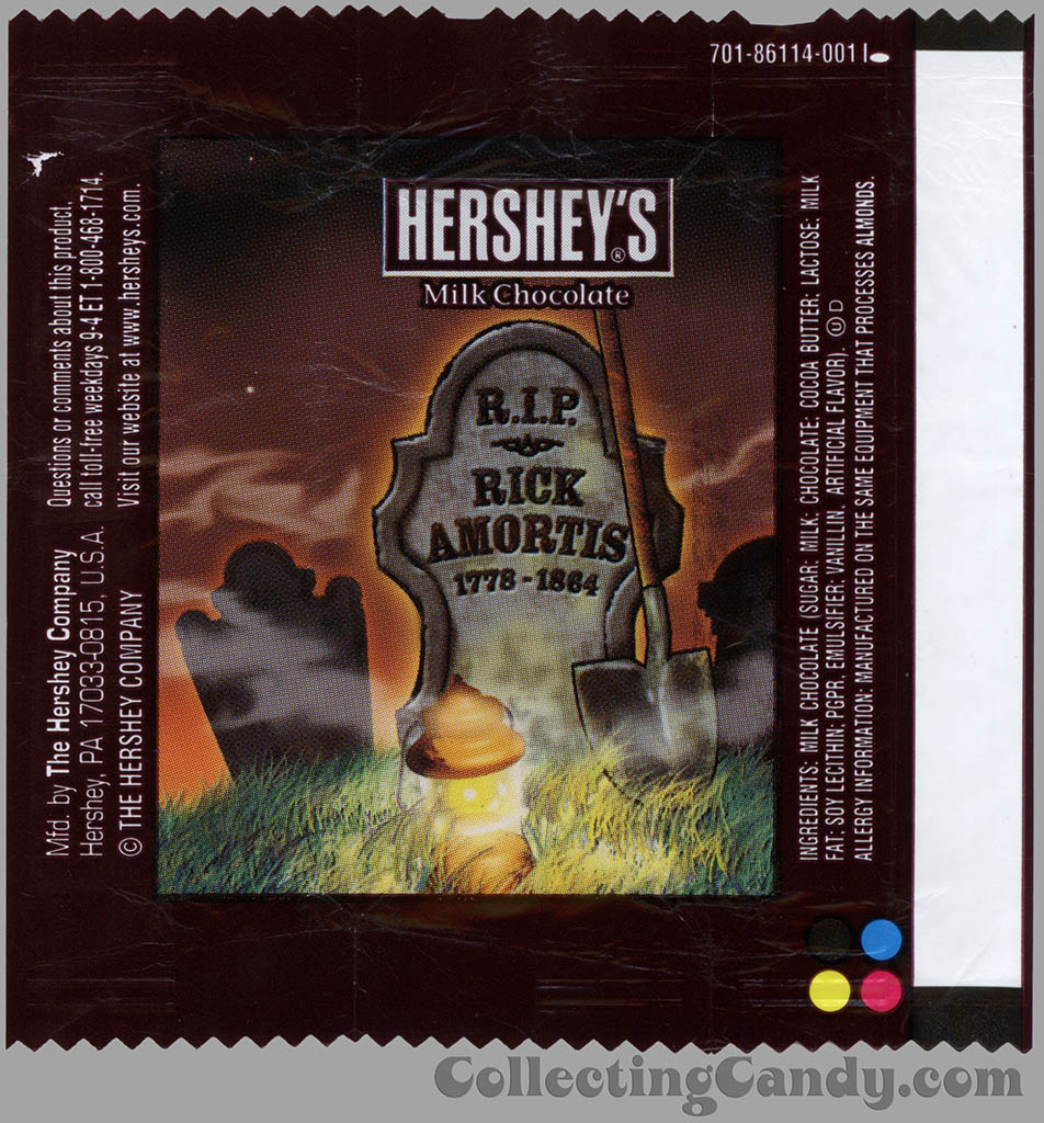 Hershey's - Milk Chocolate - Rick Amortis - Halloween snack size candy wrapper - 2013