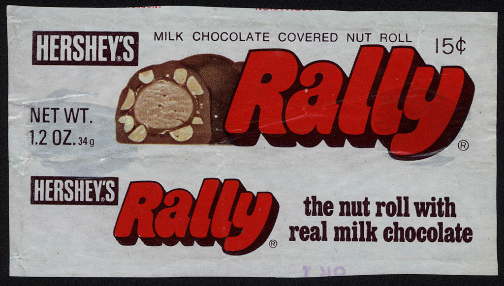 Hershey's - Rally - 15-cent 1.2 oz chocolate candy bar wrapper - 1970's