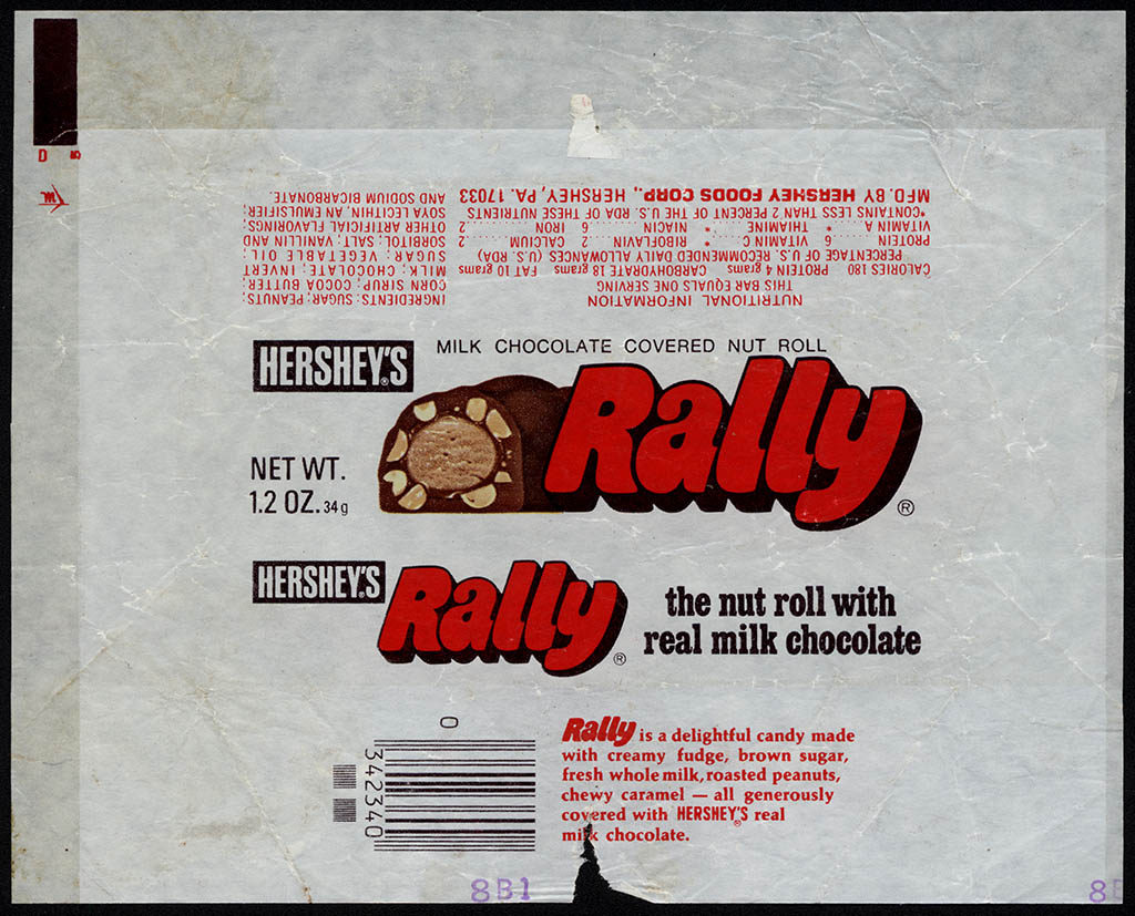 Hershey's - Rally - 1_2 oz chocolate candy bar wrapper - 1970's