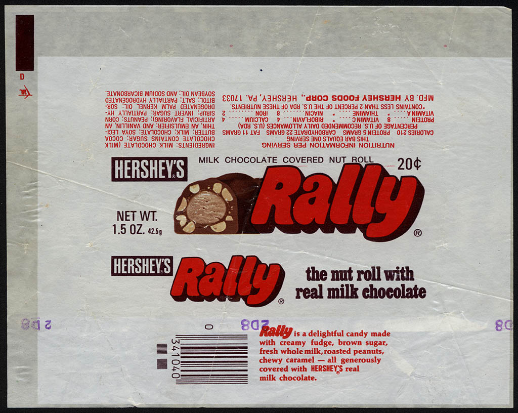 Hershey's - Rally - 20-cent 1.5 oz chocolate candy bar wrapper - 1970's
