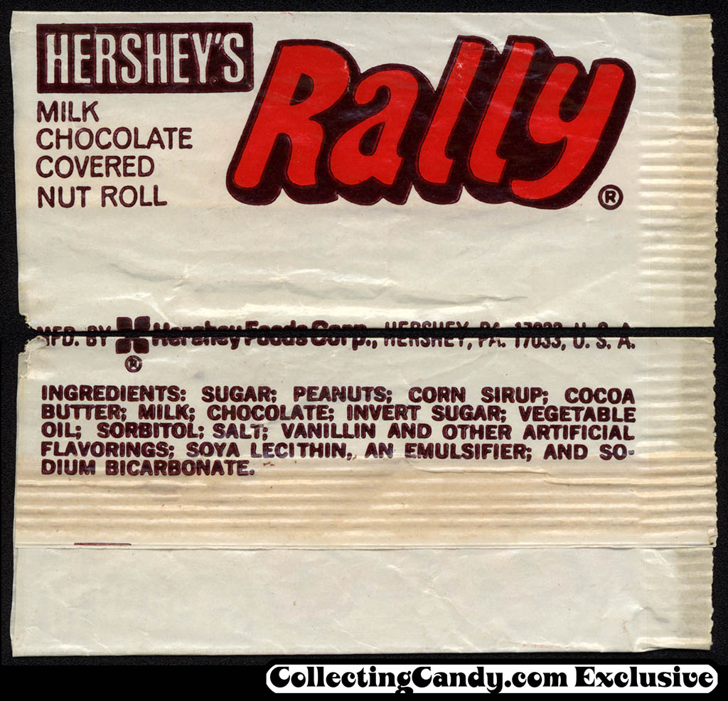 Hershey's - Rally - Juniors size chocolate candy bar wrapper - 1970's
