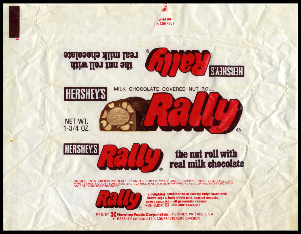 Hershey's - Rally - pre-UPC 1 3/4 oz chocolate candy bar wrapper - 1970's