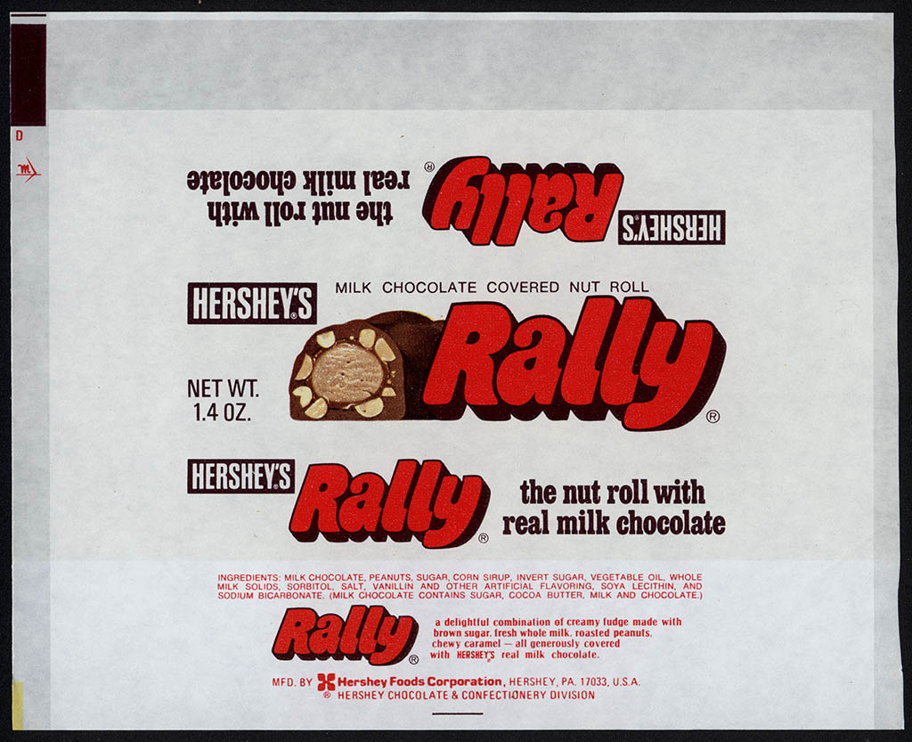 Hershey's - Rally - pre-UPC 1.4 oz chocolate candy bar wrapper - early 1970's